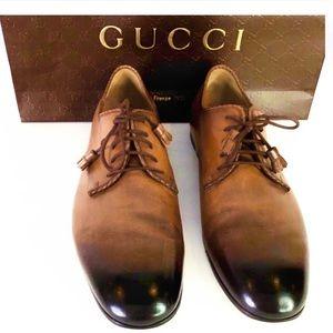 GUCCI Men's Ombré Amber Shoes w/ Tassel Lace Ups